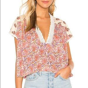 Free People Leilani Print Top Cropped Top M